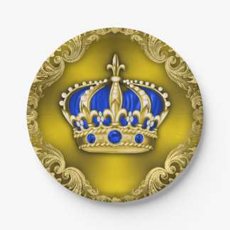 Regal Crown Royal Blue Prince Baby Shower Paper Plate