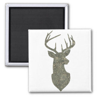 Regal Deer Silhouette Buck Trophy in Camouflage Square Magnet