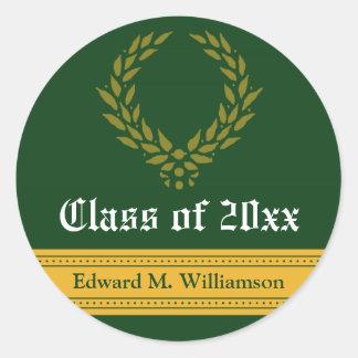 Regal Elegance Graduation Invitation Seal (green) Round Sticker