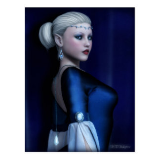 Regal Elven Beauty in Blue Postcard