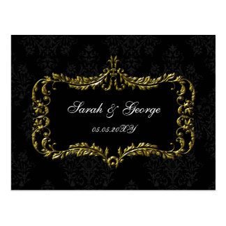 regal flourish black and gold damask rsvp postcard