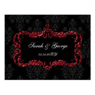 regal flourish black and red damask rsvp post cards