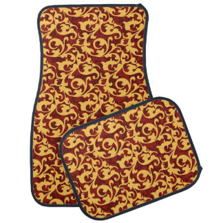 Regal Gold and Ruby Red Baroque Pattern Auto Mat