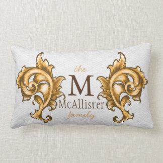 Regal Gold Leaf Laurels Family Name Lumbar Pillow