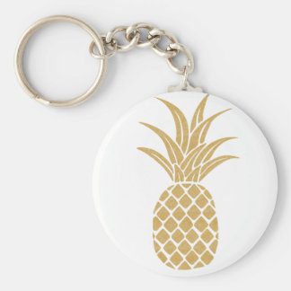 Regal Gold Pineapple Button Keychain