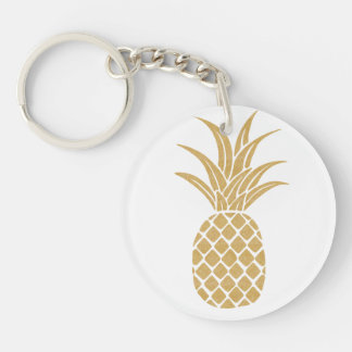 Regal Gold Pineapple Single-Sided Round Acrylic Keychain
