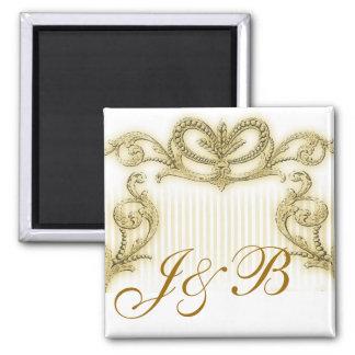 Regal gold stripe design square magnet