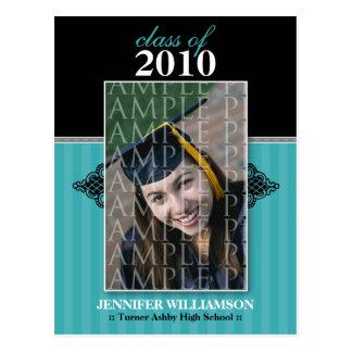Regal Graduation Announcement Postcard (aqua)