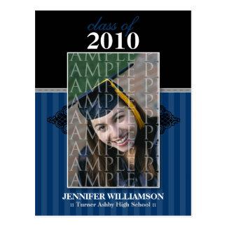 Regal Graduation Announcement Postcard (navy blue)