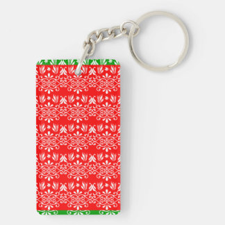 Regal Layered Green & Red Double-Sided Rectangular Acrylic Keychain