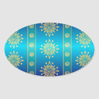 Regal Lazuli Abstract Art Oval Stickers