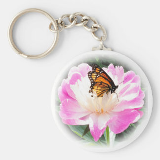 Regal Monarch butterfly resting on a peony. Basic Round Button Keychain