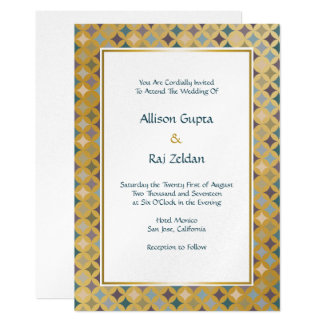Regal Moroccan Diamonds Pattern on Gold Card