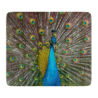 Regal Peacock with Teal and Gold Plumage Cutting Board