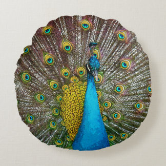 Regal Peacock with Teal Blue and Gold Plumage Round Pillow