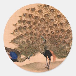 Regal Peacocks Round Sticker