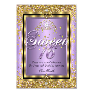 "Regal Princess Sweet 16 Gold Lavender Purple Party 5"" X 7"" Invitation Card"
