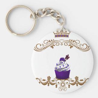 Regal Purple Cupcake Basic Round Button Keychain