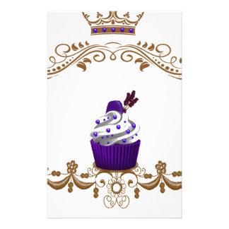 Regal Purple Cupcake Custom Stationery