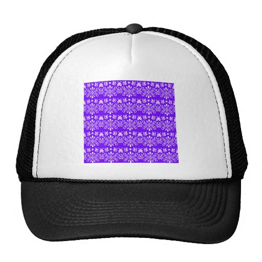Regal Purple Floral Pattern Hats