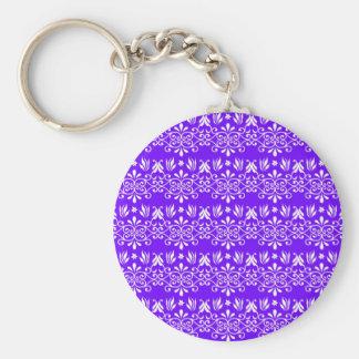 Regal Purple Floral Pattern Keychain