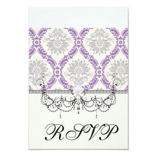 regal purple gray and cream damask design personalized announcements
