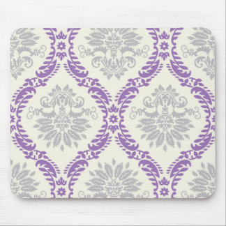regal purple gray and cream damask design mouse pad