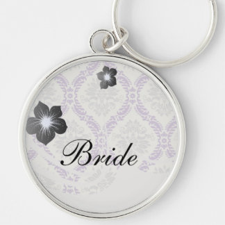 regal purple gray and cream damask design Silver-Colored round keychain