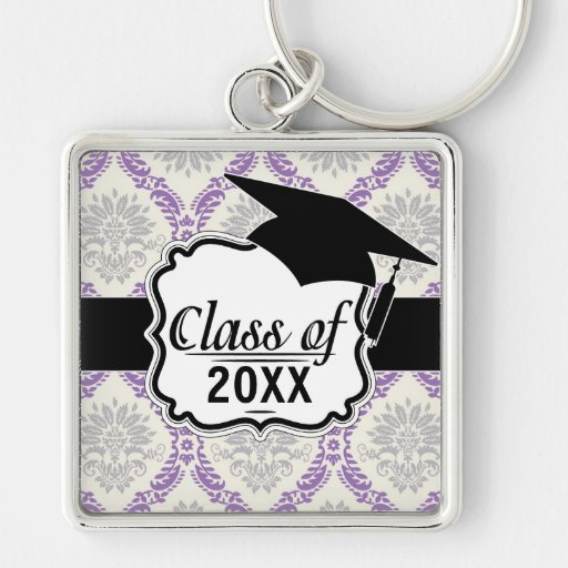 regal purple gray and cream damask graduation key chains