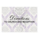 regal purple grey and cream damask design business card