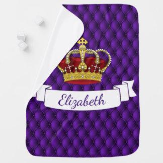 Regal Purple Royal Princess Crown Pin-tucked Look Baby Blanket