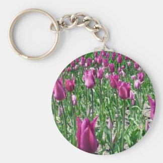 Regal Purple Tulips Basic Round Button Keychain