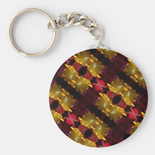 Regal Red And Gold  Abstract Photographic Pattren Keychain