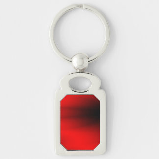 Regal Red Splash Silver-Colored Rectangle Keychain