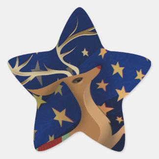 Regal Reindeer Star Sticker
