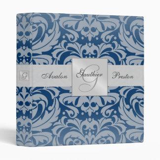 Regal Royal Blue Monogram Damask Wedding Binder