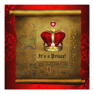 Regal Royal Rich Red Prince Baby Shower Card
