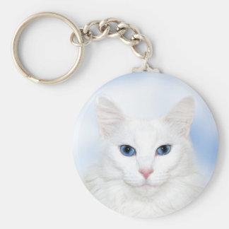 Regal white cat basic round button keychain