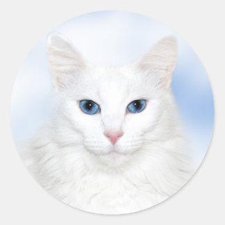 Regal white cat round sticker