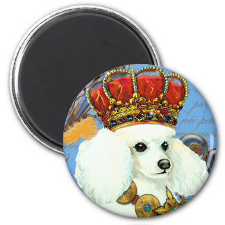 Regal White Poodle with Crown portrait 2 Inch Round Magnet