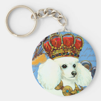 Regal White Poodle with Crown portrait Basic Round Button Keychain