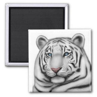 Regal White Tiger Square Magnet