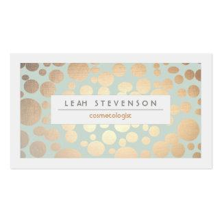 Regard de feuille d'or de turquoise de beauté de c cartes de visite professionnelles