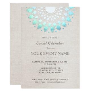 Regard de toile beige élégant de bleu de turquoise carton d'invitation  12,7 cm x 17,78 cm