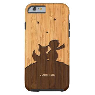 Regard en bambou et petit prince gravé Fox Pattern Coque iPhone 6 Tough