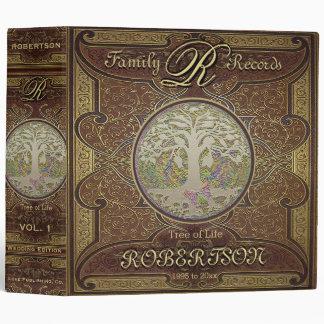 Regard en cuir vintage antique de livre de l'arbre classeur 3 anneaux