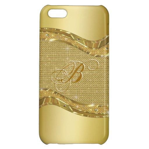 Regard métallique d'or avec le motif de diamants étui iPhone 5C