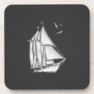 Regatta Sailboat on Carbon Fiber Style Drink Coasters