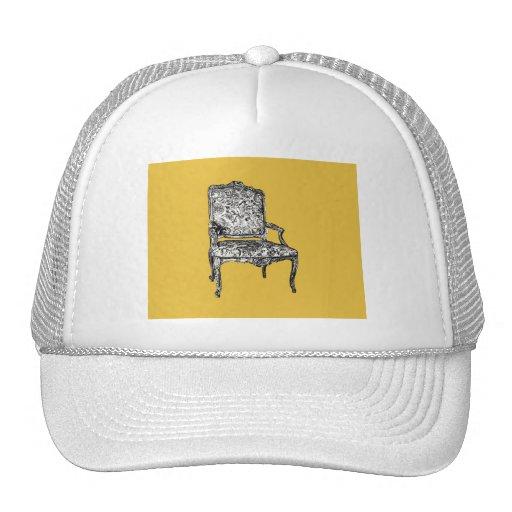 Regency chair in mustard yellow mesh hat