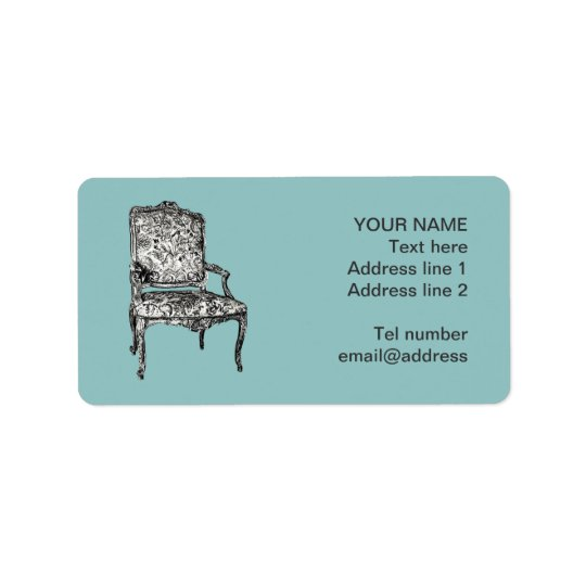 Regency chair in turquoise label